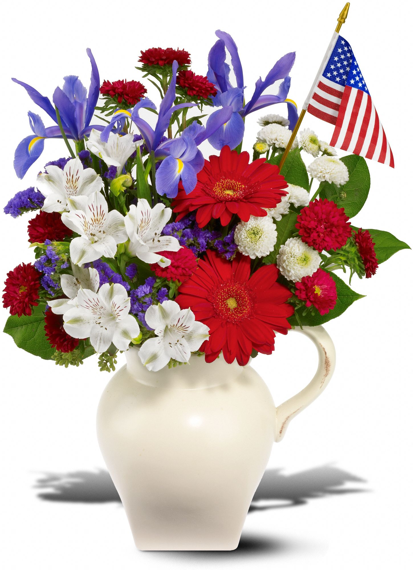 Red, white and blue flower bouquet