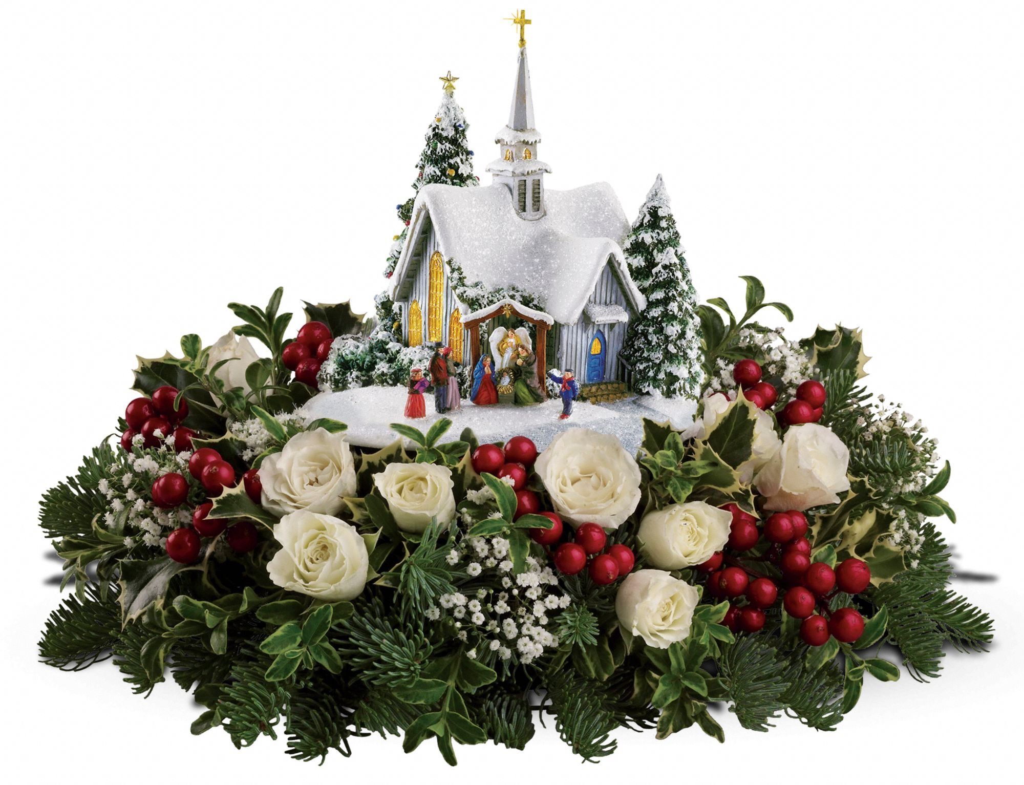 Teleflora's Thomas Kinkade Country Chapel - Red
