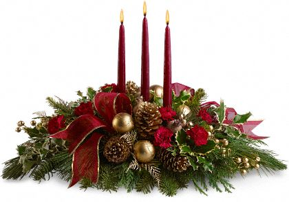 All is Bright Flower Centerpiece Bouquet - Teleflora.com :  holiday holiday decor table setting christmas present