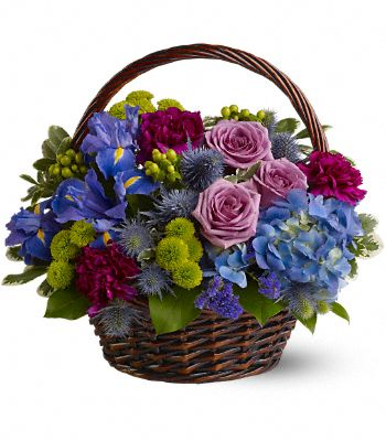 Twilight Garden Basket Flower Arrangement
