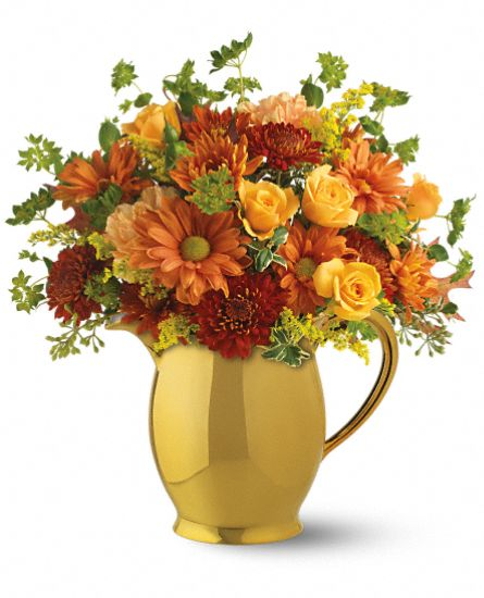 Flower Bouquet - Williamsburg Golden Pitcher by Teleflora
