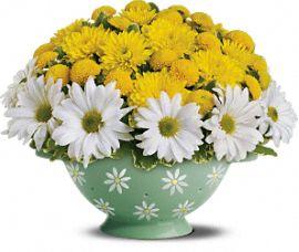 Teleflora's Daisy Colander Bouquet Flowers, Teleflora's Daisy Colander Flower Bouquet - Teleflora.com :  mom colander yellow kitchen