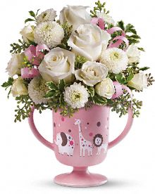 MiGi's Baby Circus Bouquet by Teleflora - Pink Flowers, MiGi's Baby Circus Bouquet by Teleflora - Pink Flower Bouquet - Teleflora.com