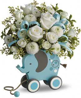 MiGi's Baby Elephant Bouquet by Teleflora - Blue Flowers, MiGi's Baby Elephant Bouquet by Teleflora - Blue Flower Bouquet - Teleflora.com