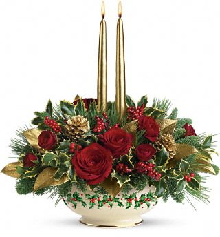 Lenox Holly-Day Bouquet by Teleflora - Teleflora.com :  holiday centerpiece christmas bouquet lenox