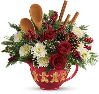 Mixing Bowl Bouquet Flowers at Teleflora.com :  holiday christmas ceramic bouquet