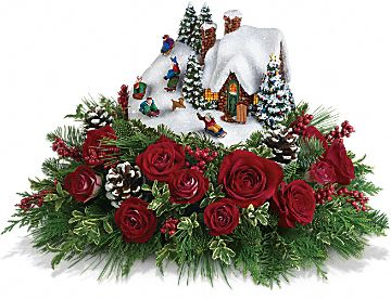 Thomas Kinkade's Sleigh Ride Bouquet by Teleflora Flowers, Thomas Kinkade's Sleigh Ride Bouquet by Teleflora Flower Bouquet - Teleflora.com :  holiday centerpiece present christmas cottage