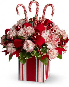 Teleflora's Gift of Joy Flowers - Teleflora.com :  holiday bouquet candy cane christmas present
