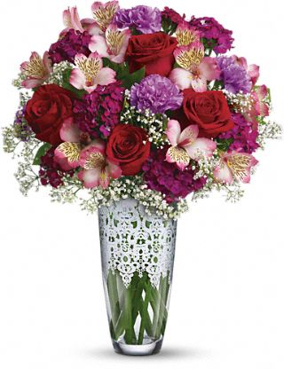 Teleflora's Antique Lace Bouquet :  pink lilies teleflora white