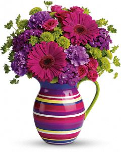 Teleflora's Rainbow Pitcher Bouquet :  striped gift bouquet green