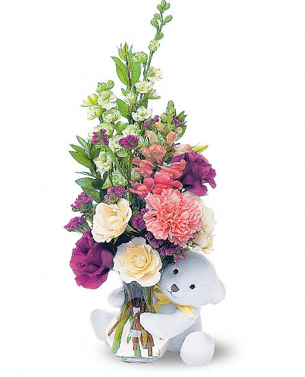 Teleflora's Bear Hug Bear with White Roses Flowers