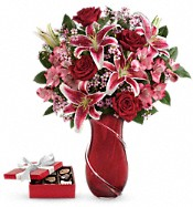 Wrapped With Passion Bouquet with chocolates Flowers