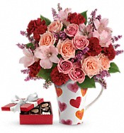 Lovely Hearts Bouquet with chocolates Flowers