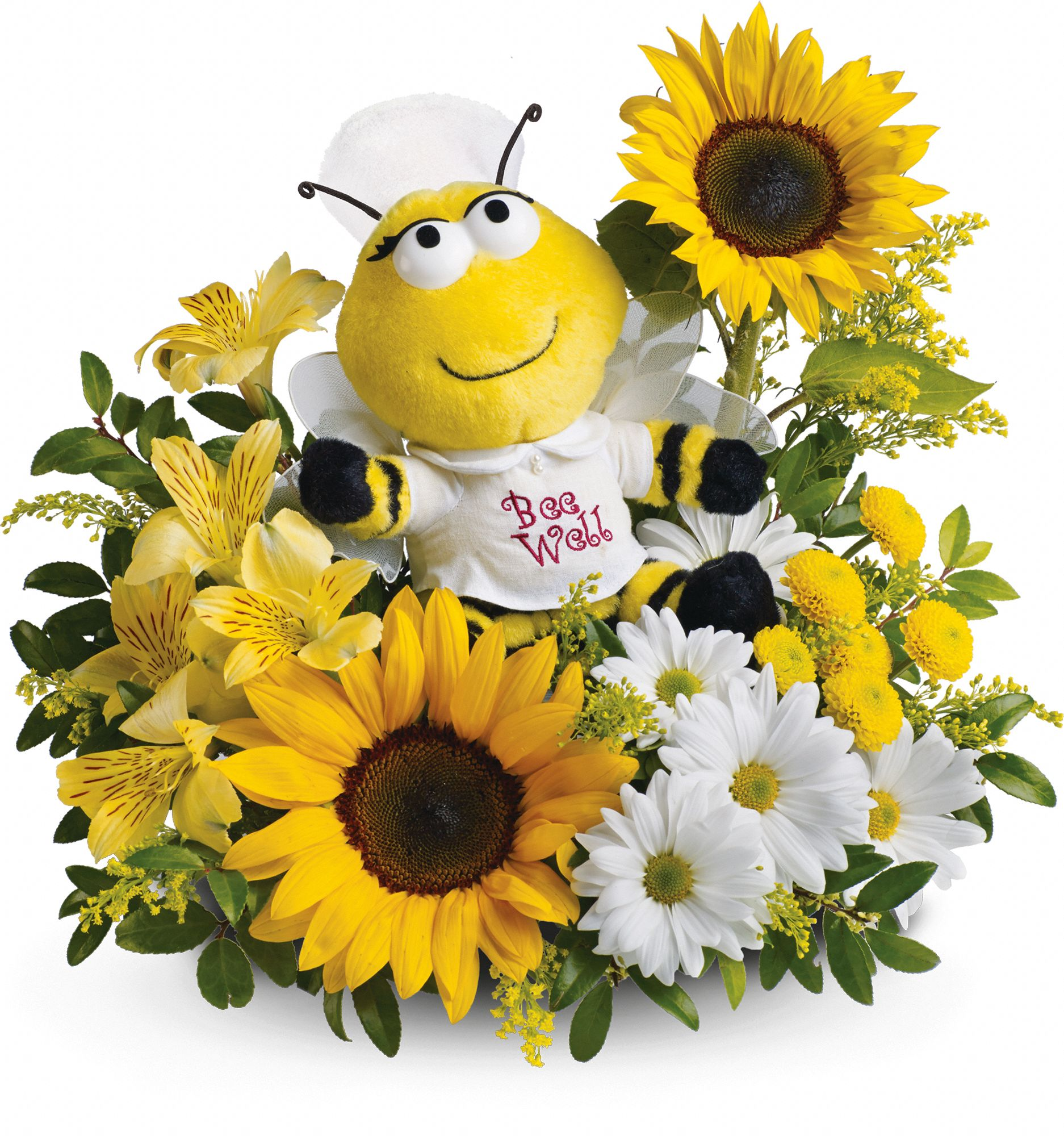 Plush bee with flowers