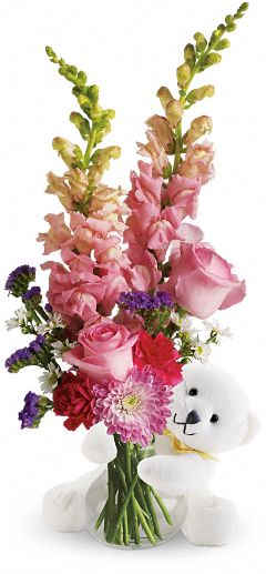 Bear Hug Bear with Pink Roses Flowers