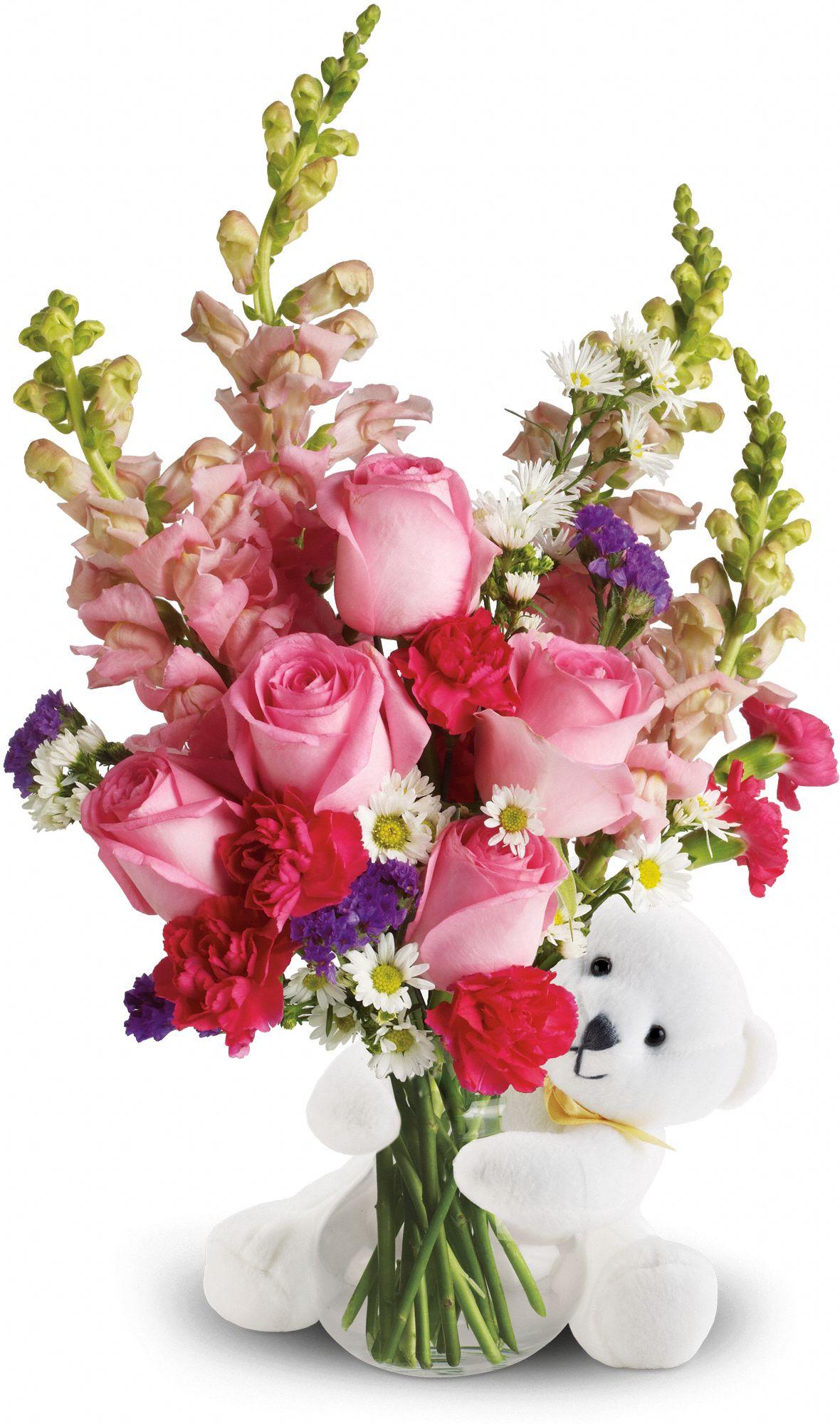 Bear Hug Bear pink bouquet