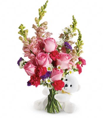 Teleflora's Bear Hug Bear with Pink Roses Flowers