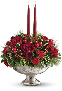 Mercury Glass Christmas Flowers Centerpiece