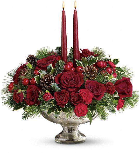Teleflora's Mercury Glass Bowl Bouquet Flowers