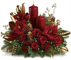 Candlelit Christmas Flowers