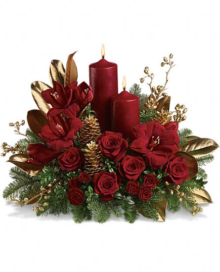 Candlelit christmas flowers flower