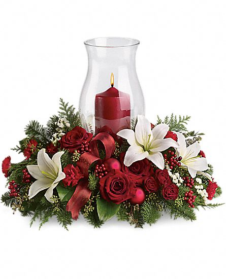 Holiday glow centerpiece flowers