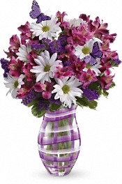 Teleflora's Lavender Plaid Bouquet Flowers