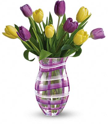 Teleflora's Lavender Plaid Tulip Bouquet Flowers