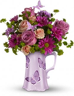 Teleflora's Butterfly Pitcher Bouquet Flowers