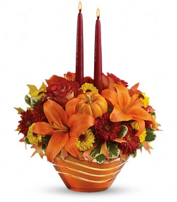 Teleflora's Amber Waves Centerpiece Flowers