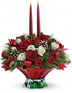 Teleflora's Colors of Christmas Centerpiece Flowers