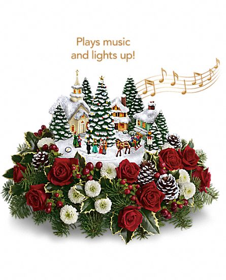 Thomas Kinkade's Christmas Carolers Flowers