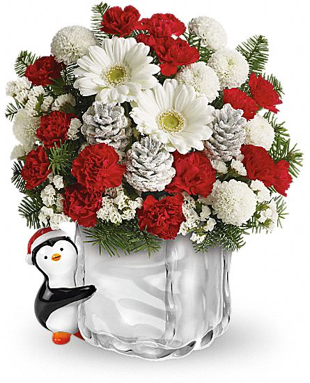 Teleflora's Merry Penguin Send a Hug Flowers