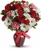 Hugs and Kisses Bouquet with Red Roses Flowers - Deluxe