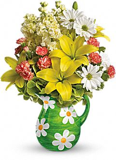 Pitcher of Spring Bouquet Flowers