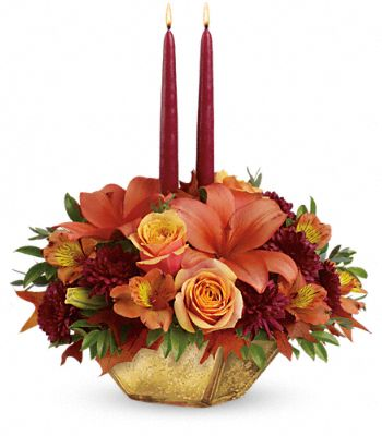 Teleflora's Harvest Gold Centerpiece Flowers