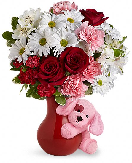 Send A Hug Puppy Love Bouquet with Red Roses Flowers