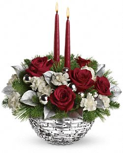 Teleflora's Sparkle of Christmas Centerpiece Flowers