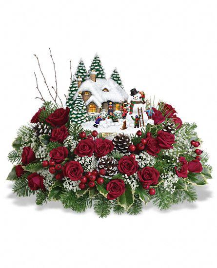 Holiday Glow Centerpiece Teleflora : Thomas kinkade s winter wonder flowers