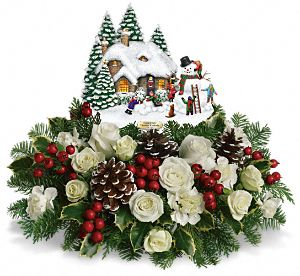 Snow Time Cottage Bouquet by Thomas Kinkade