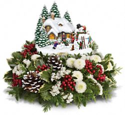 Thomas Kinkade's Snowballs & Smiles Centerpiece Flowers