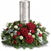 Teleflora's Snow-Kissed Roses Centerpiece Flowers