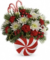 Teleflora's Candy-Striped Christmas Bouquet Flowers