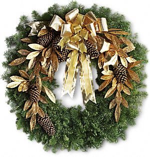 Glitter & Gold Wreath Flowers, Glitter & Gold Wreath Flower Bouquet - Teleflora.com