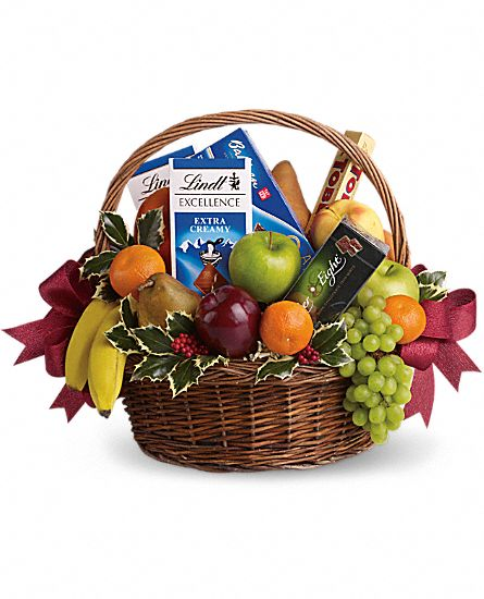 Flower And Gift Baskets For Delivery : Fruits and sweets christmas gift basket
