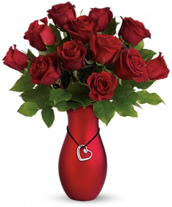 Passion's Heart Red Roses Bouquet