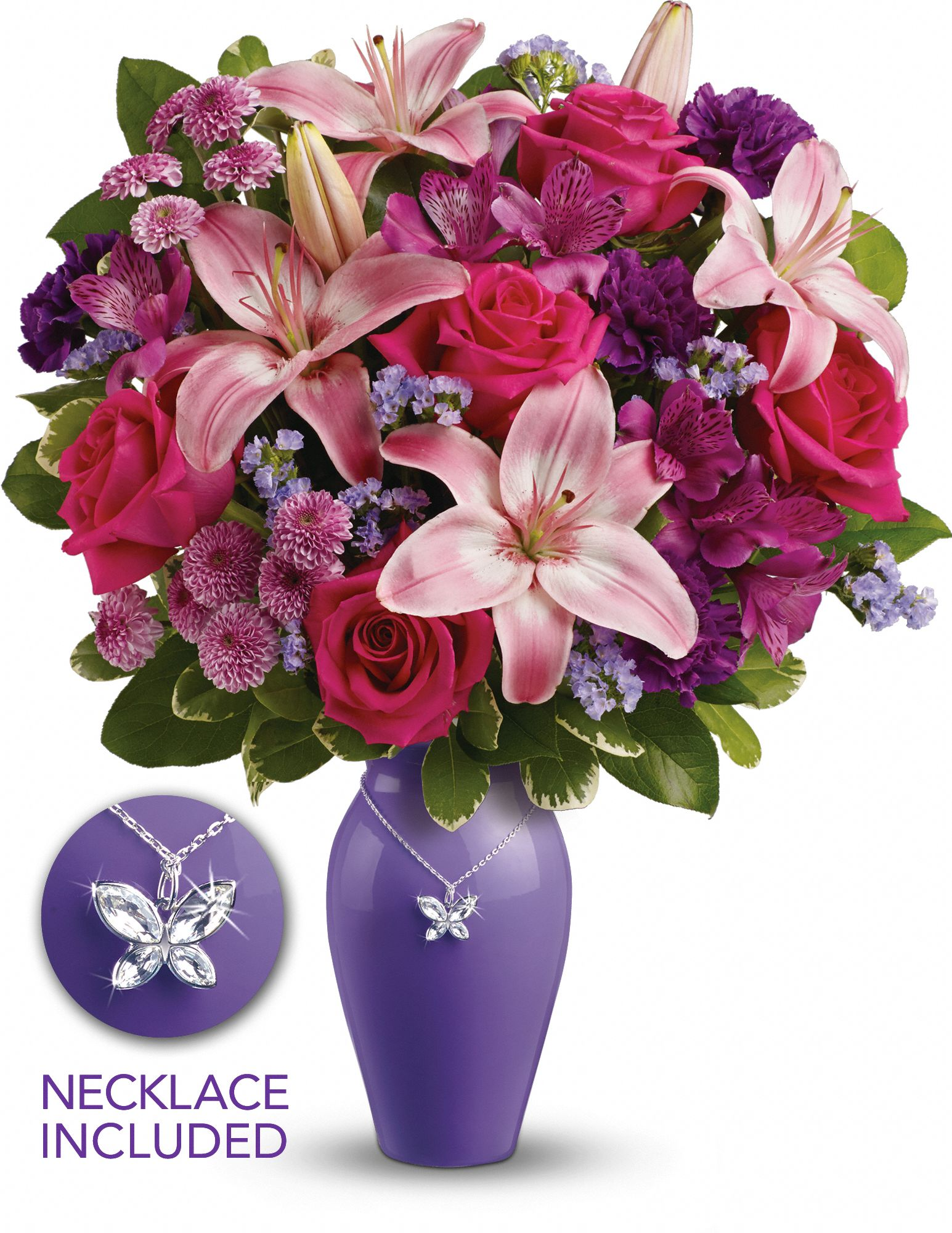 flowers in a hand-glazed ceramic vase with a butterfly charm on a silver-plated chain