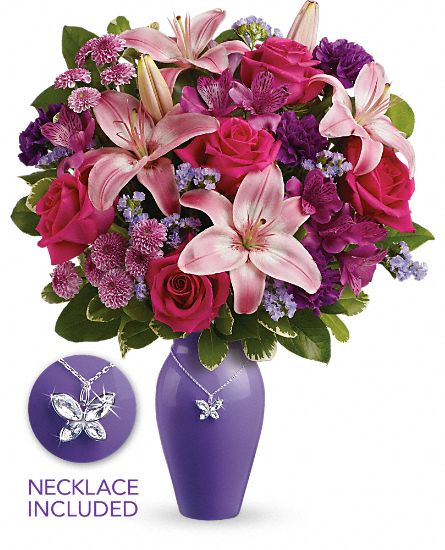 Lavender vase and butterfly necklace Mother's Day bouquet