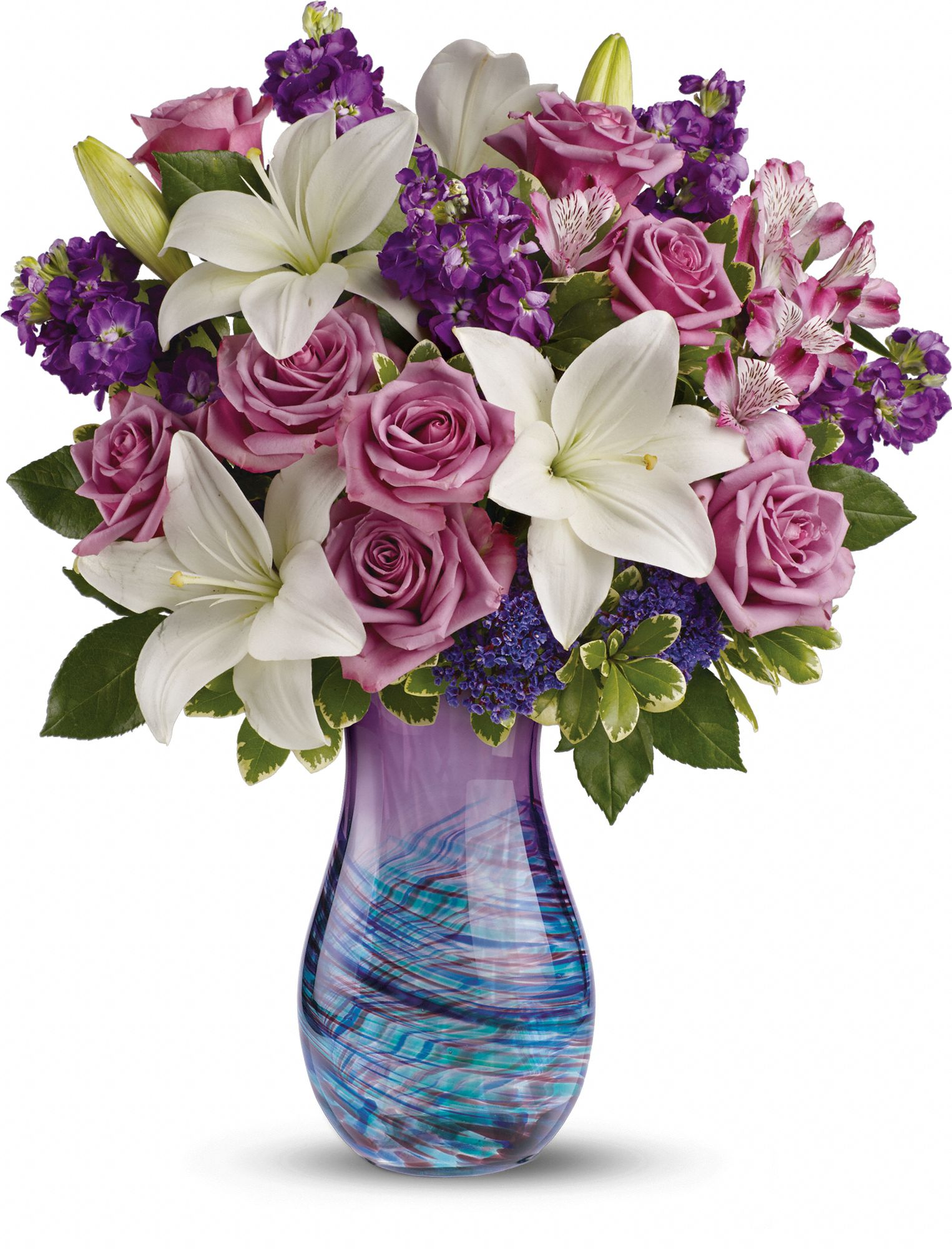 art glass vase and flowers