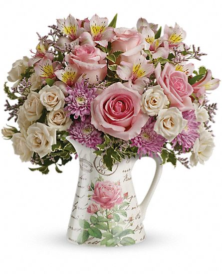 Fill My Heart bouquet in a pitcher